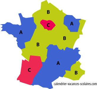 carte des zones de vacances scolaires en France